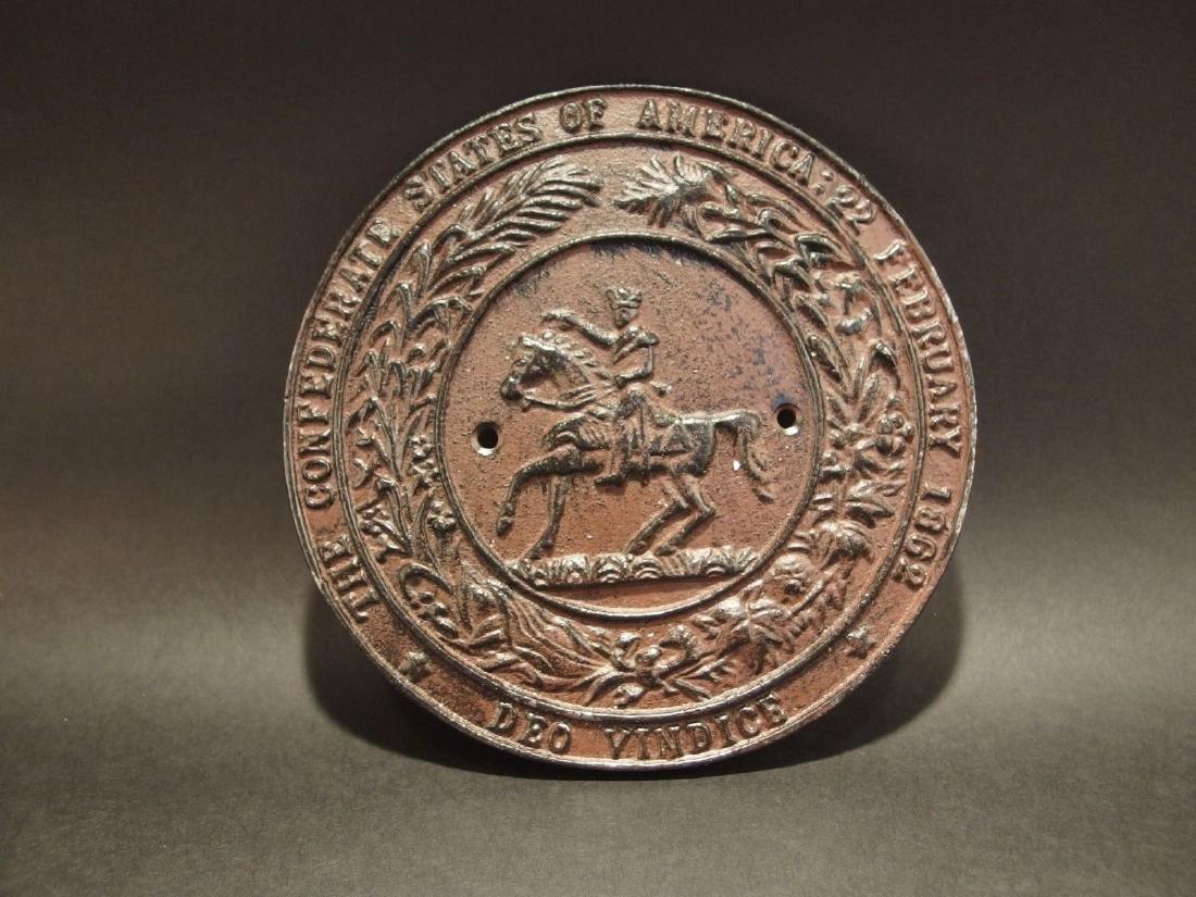 Civil War Confederate CSA Great Seal Cast Iron Plaque - 5