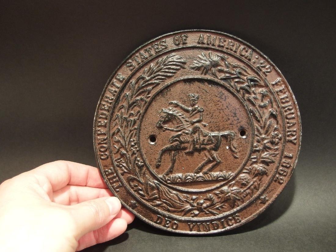 Civil War Confederate CSA Great Seal Cast Iron Plaque - 6