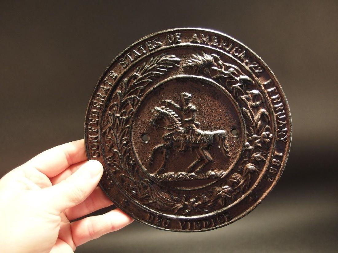 Civil War Confederate CSA Great Seal Cast Iron Plaque - 8