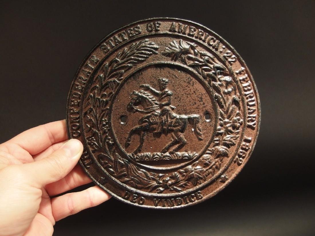 Civil War Confederate CSA Great Seal Cast Iron Plaque - 9