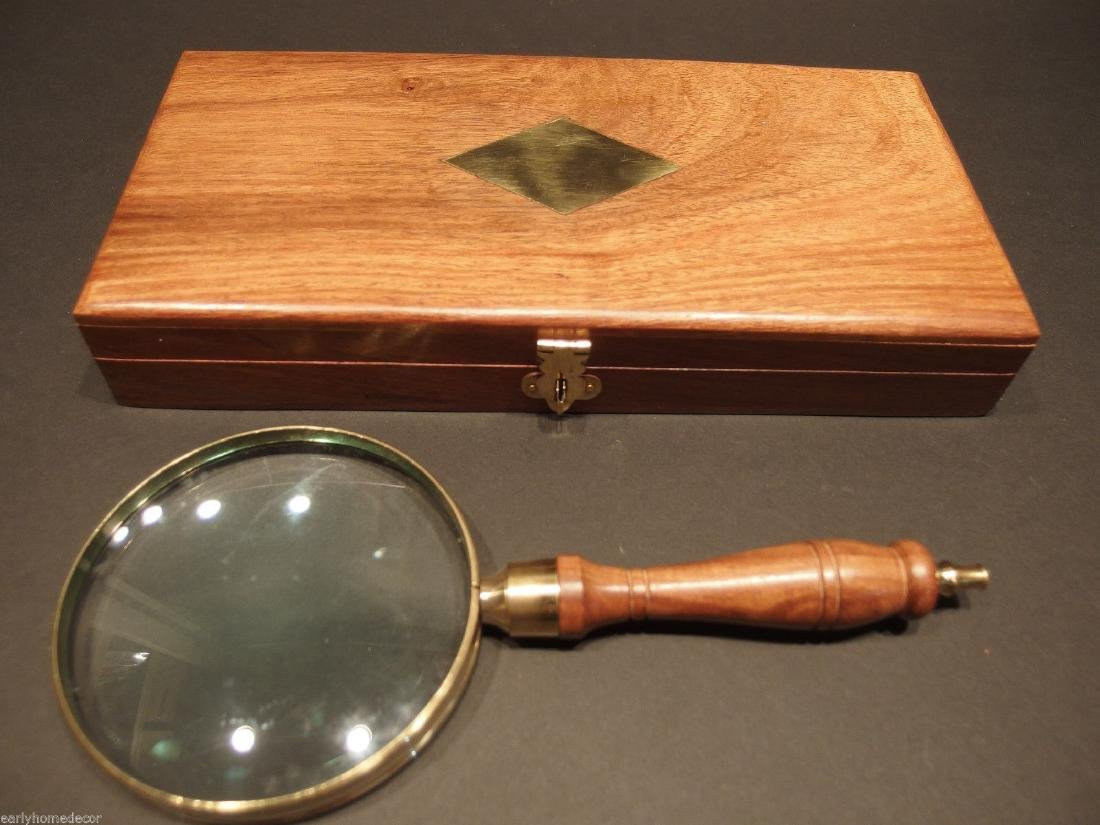 Turned Wood Magnifying Glass With Inlay Box - 10