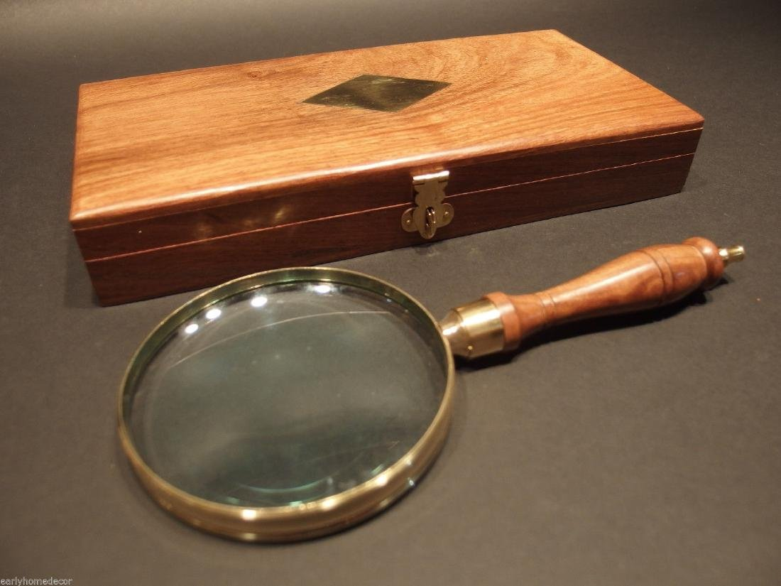 Turned Wood Magnifying Glass With Inlay Box - 4