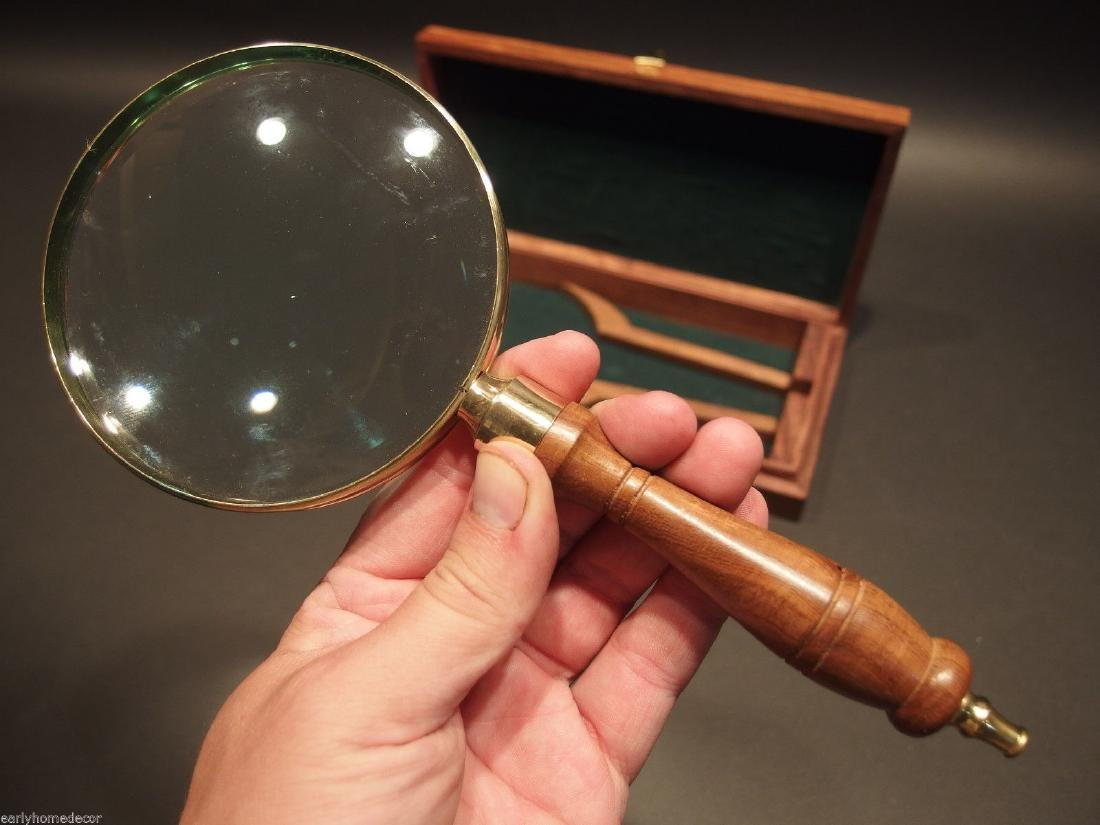 Turned Wood Magnifying Glass With Inlay Box - 5