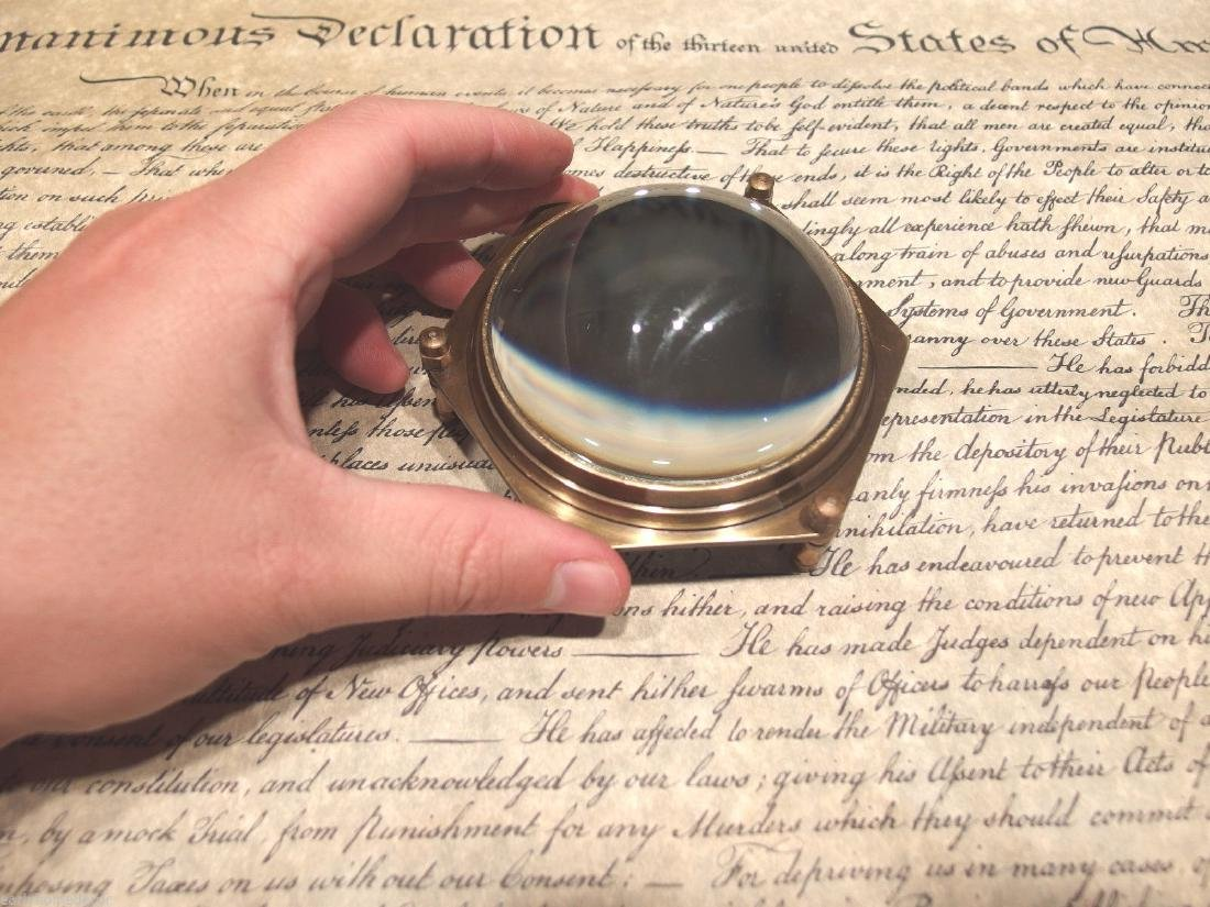 Brass Heavy Glass Magnifying Desk Lens Magnifier - 5
