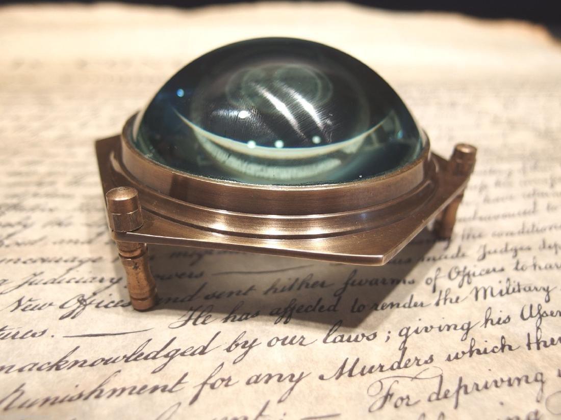 Brass Heavy Glass Magnifying Desk Lens Magnifier - 7