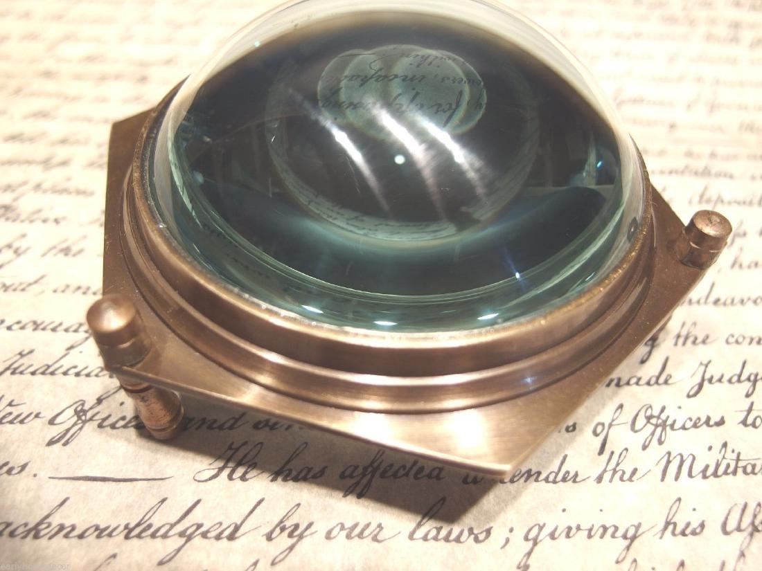 Brass Heavy Glass Magnifying Desk Lens Magnifier - 8