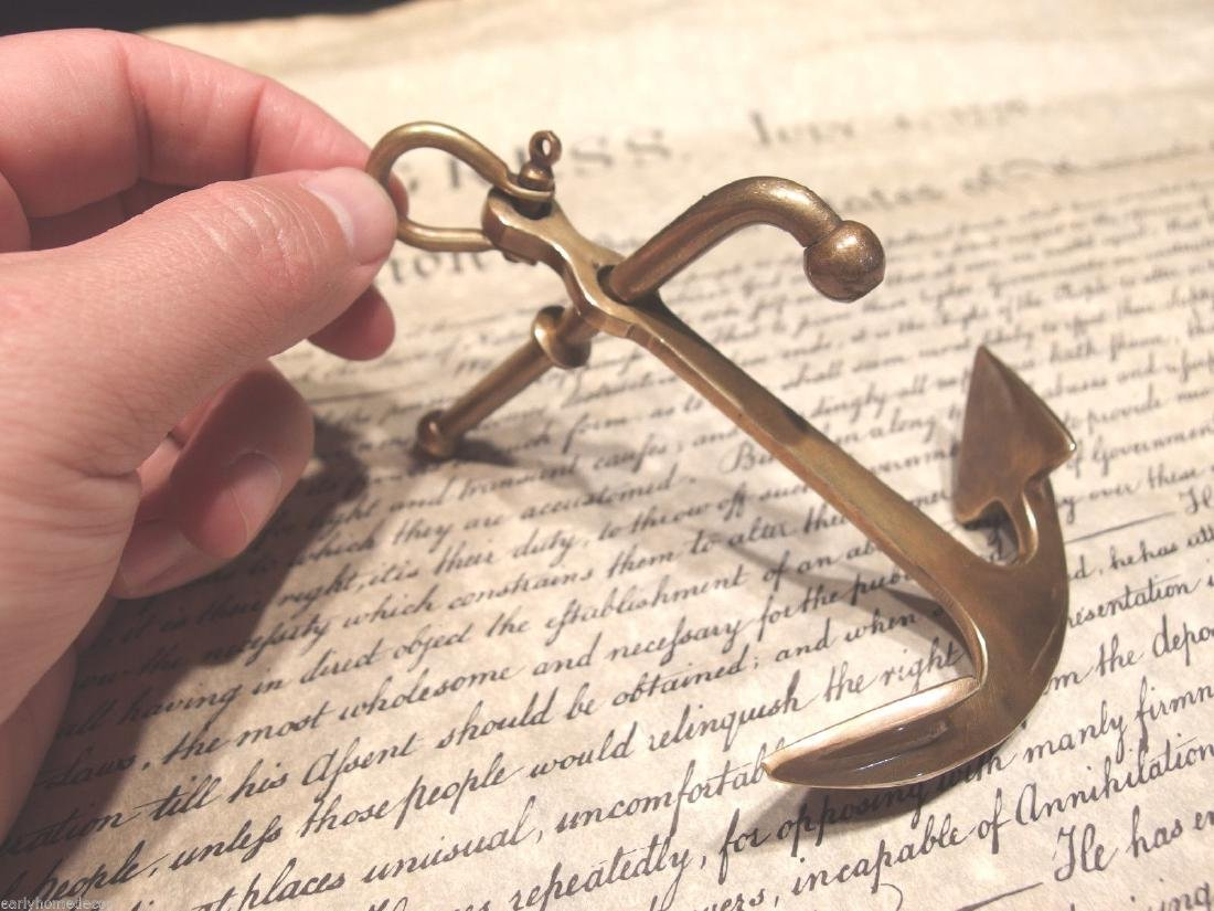 Brass Nautical Ships Boat Anchor Paperweight - 8