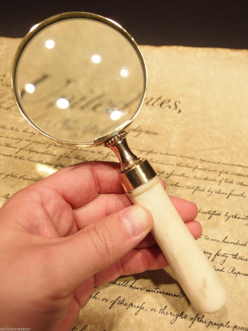 Brass Bone Handle Magnifying glass Desk Magnifier
