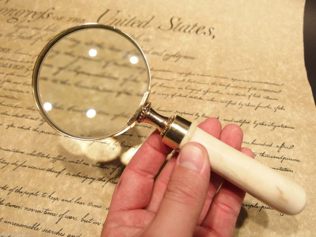 Brass Bone Handle Magnifying glass Desk Magnifier - 3