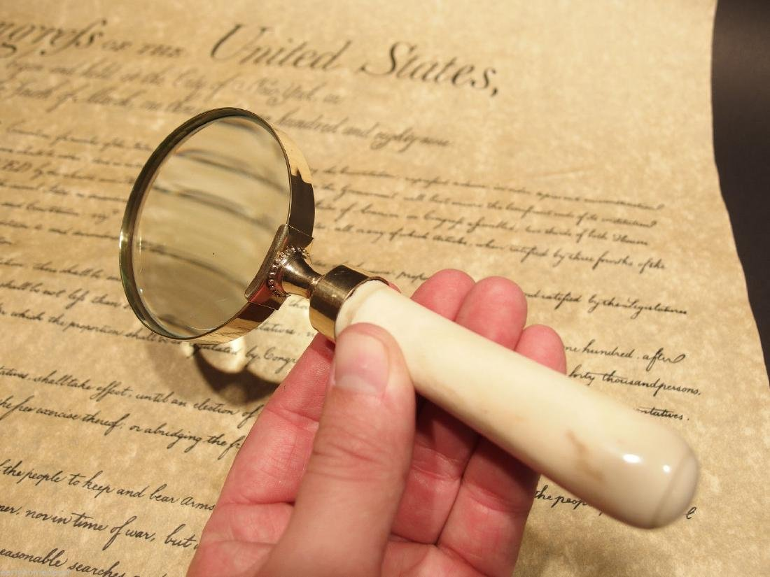 Brass Bone Handle Magnifying glass Desk Magnifier - 4