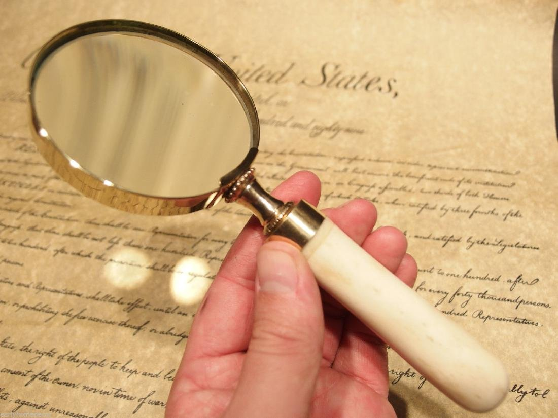 Brass Bone Handle Magnifying glass Desk Magnifier - 7