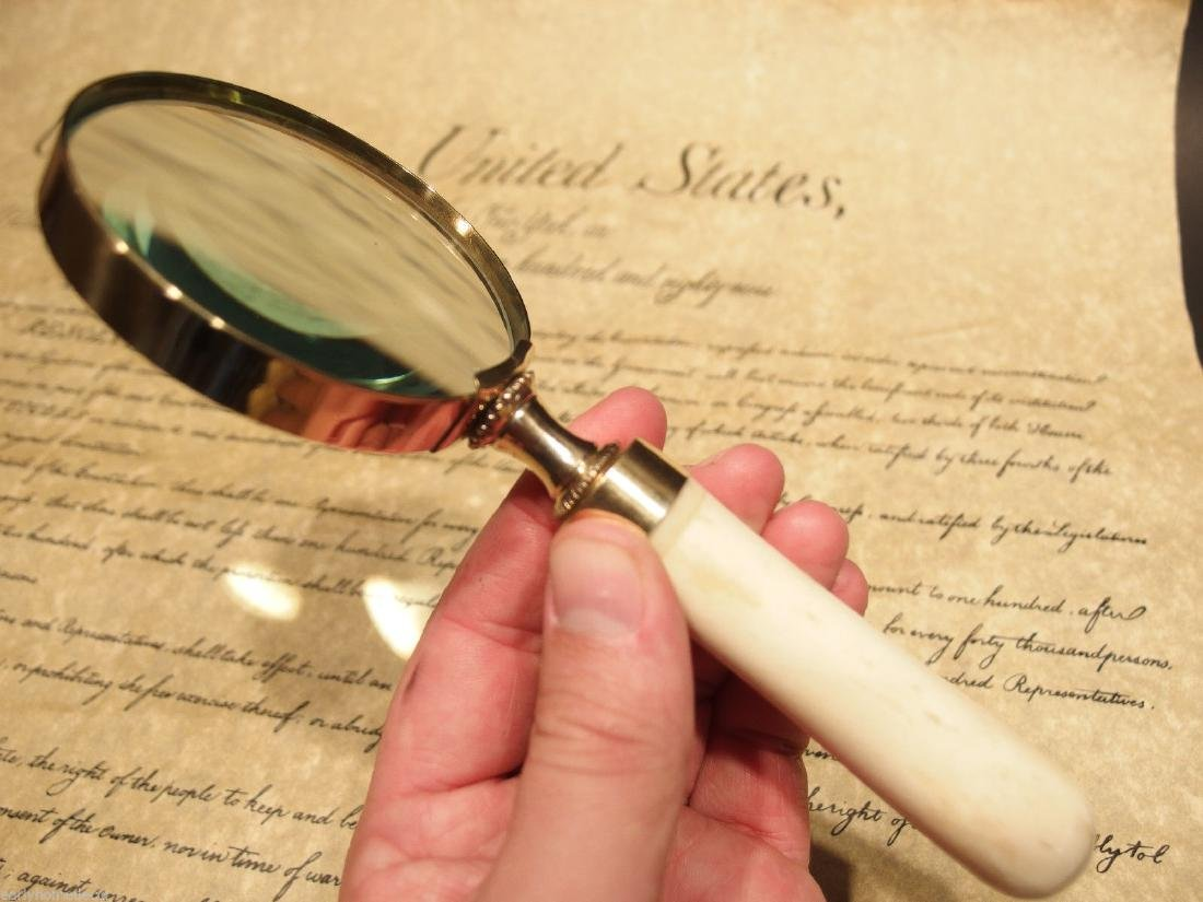 Brass Bone Handle Magnifying glass Desk Magnifier - 8