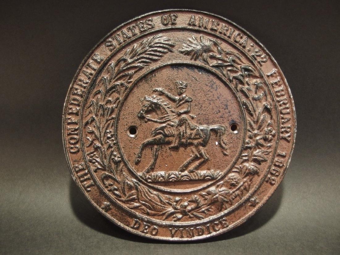 Civil War Confederate CSA Great Seal Cast Iron Plaque - 7