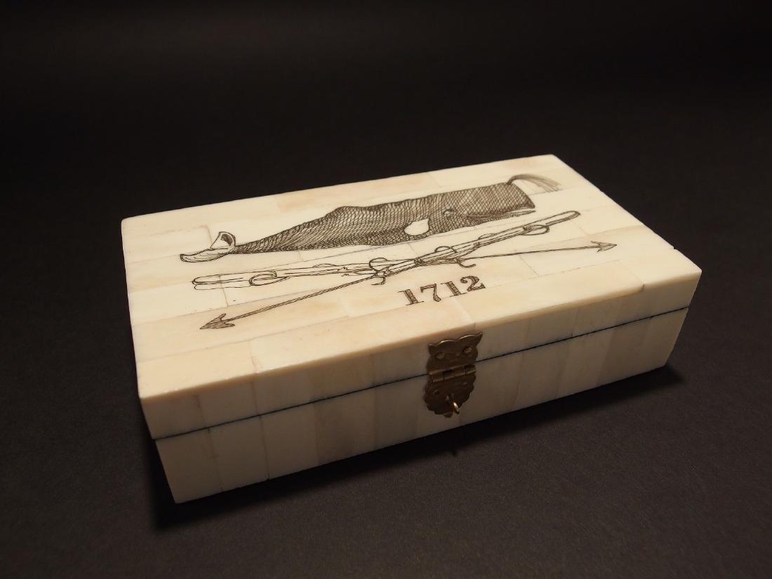 Folk Whale Harpoon Scrimshaw Bone & Wood Trinket Box - 7