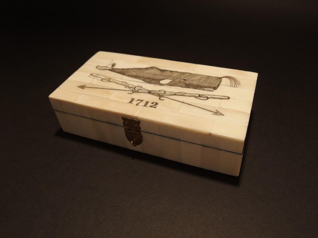 Folk Whale Harpoon Scrimshaw Bone & Wood Trinket Box - 8