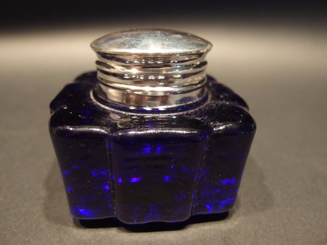 Large Heavy Glass Square Cobalt Blue Inkwell Ink pot