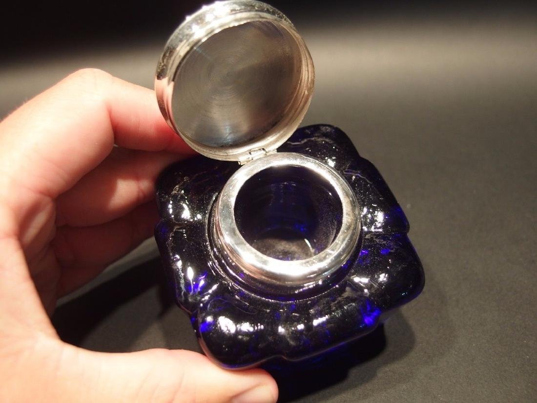 Large Heavy Glass Square Cobalt Blue Inkwell Ink pot - 2