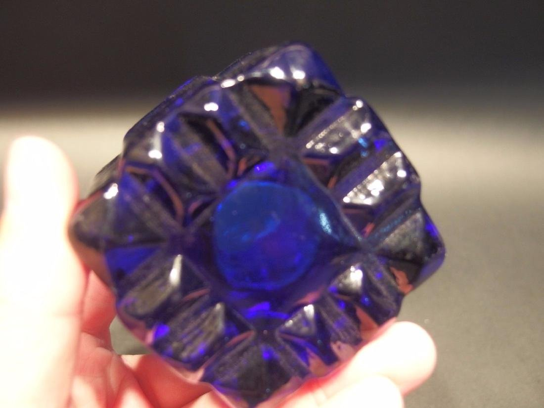 Large Heavy Glass Square Cobalt Blue Inkwell Ink pot - 3