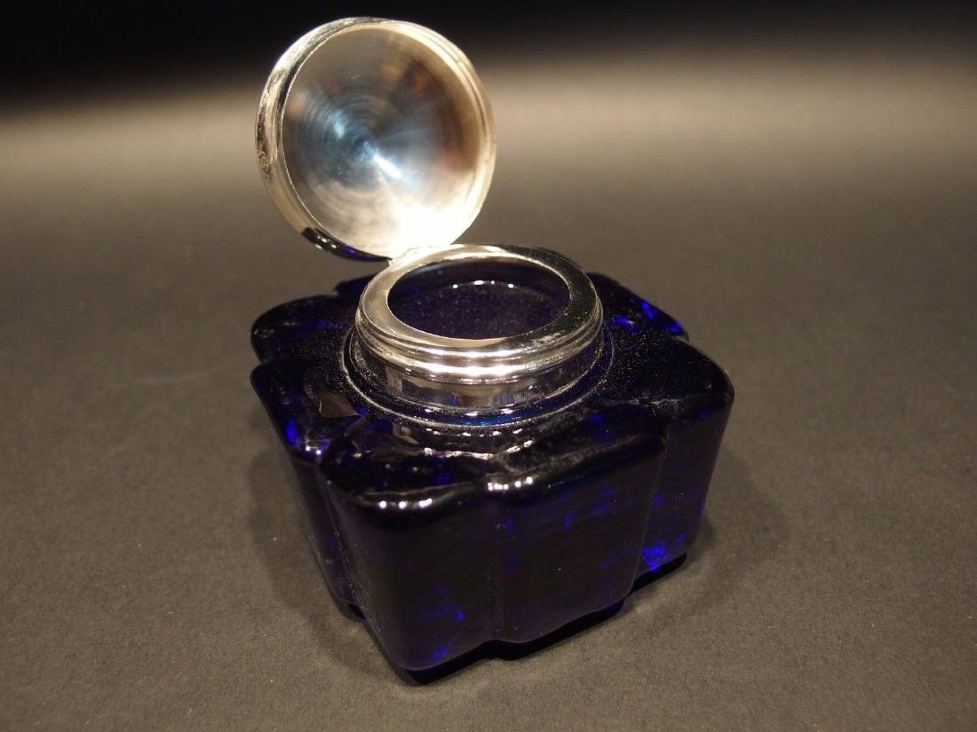 Large Heavy Glass Square Cobalt Blue Inkwell Ink pot - 4