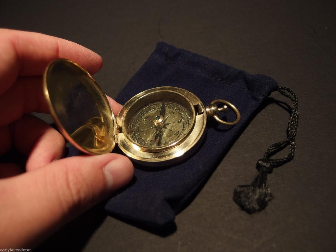 Brass Pocket Compass flip lid Signal mirror with bag - 2