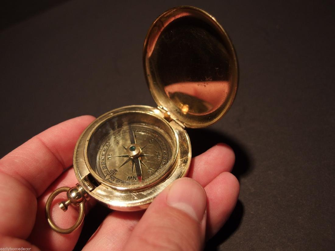 Brass Pocket Compass flip lid Signal mirror with bag - 3