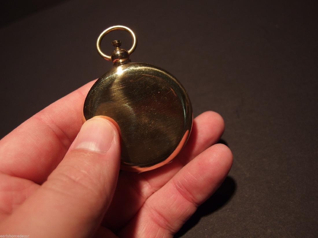 Brass Pocket Compass flip lid Signal mirror with bag - 4