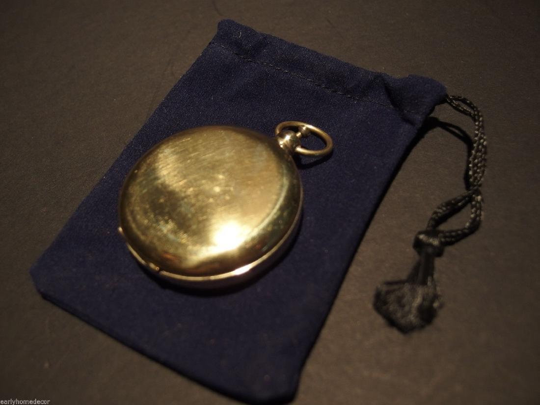 Brass Pocket Compass flip lid Signal mirror with bag - 7