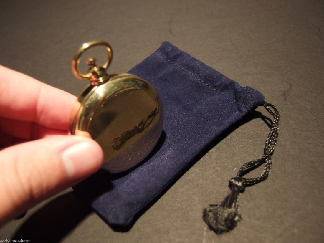 Brass Pocket Compass flip lid Signal mirror with bag - 8