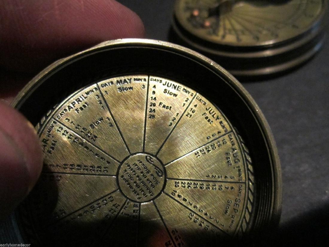 Brass Timekeeping Sundial with Top Pocket Compass Watch - 6