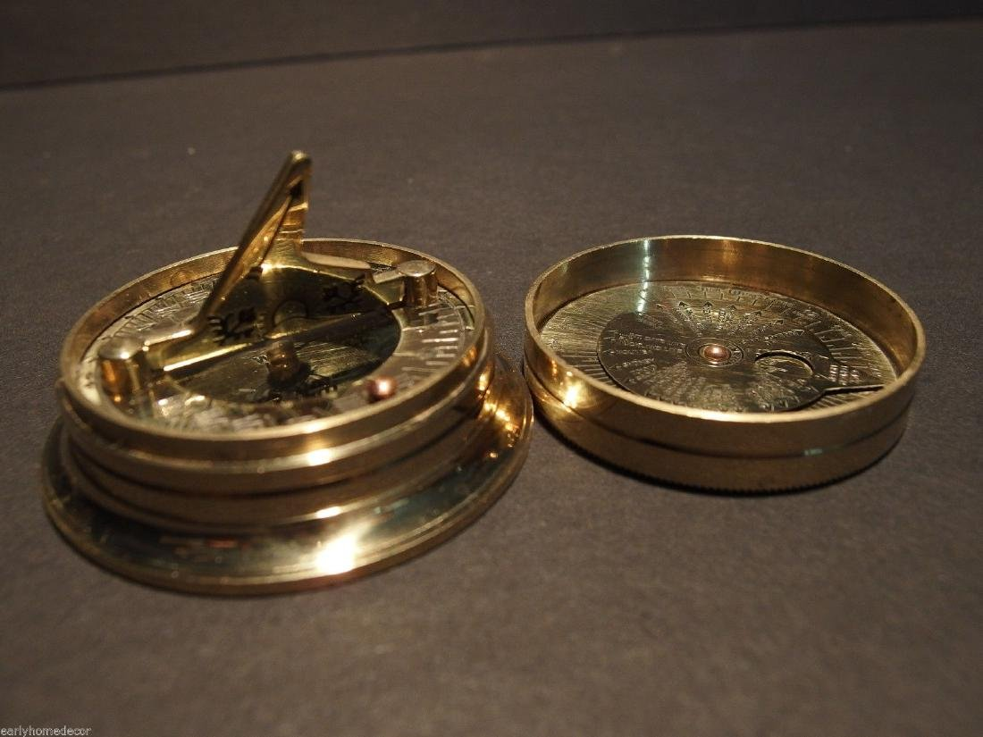 Brass Wing Sundial w Lid Pocket Watch Compass