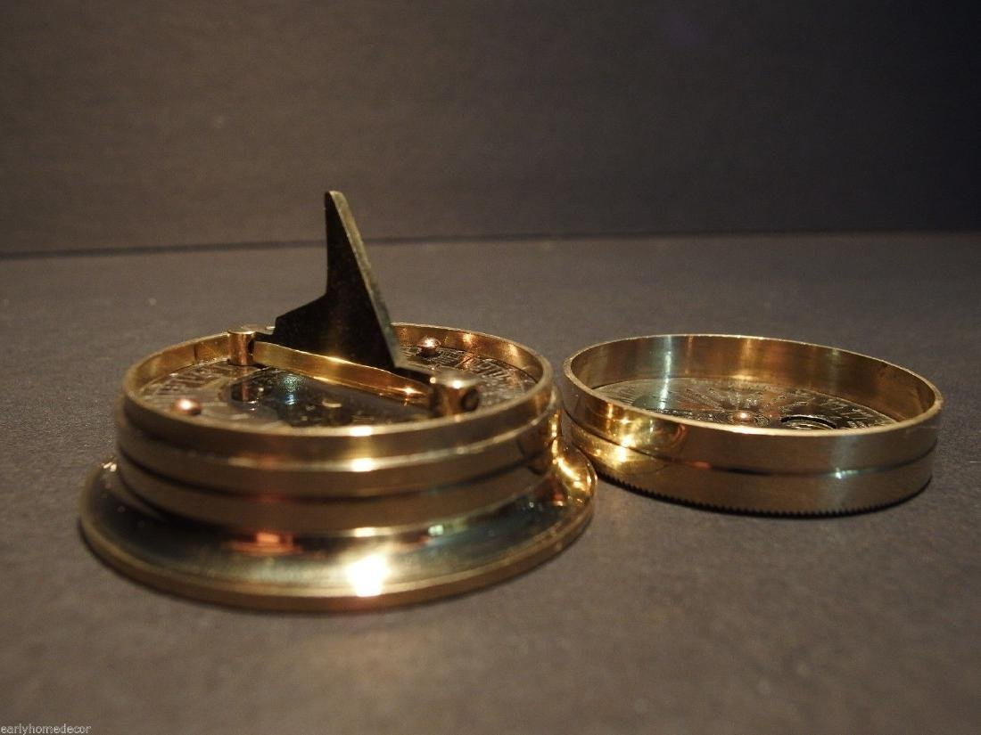 Brass Wing Sundial w Lid Pocket Watch Compass - 2