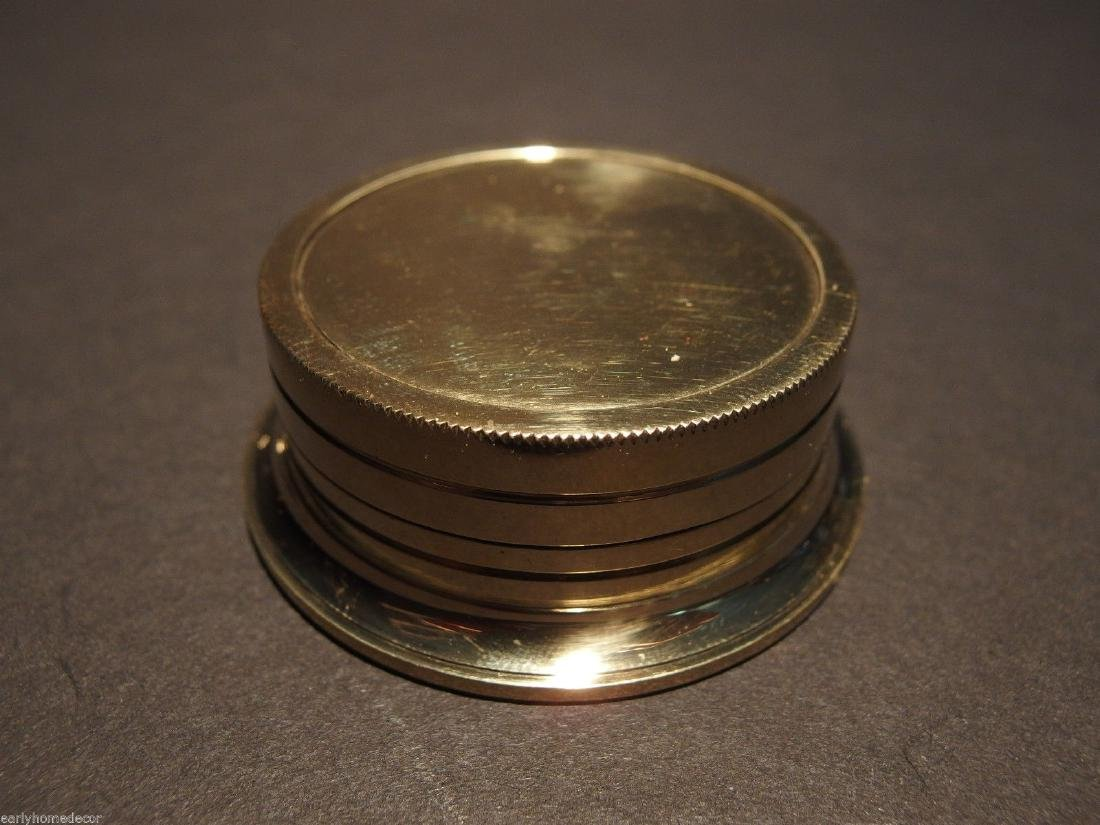 Brass Wing Sundial w Lid Pocket Watch Compass - 3