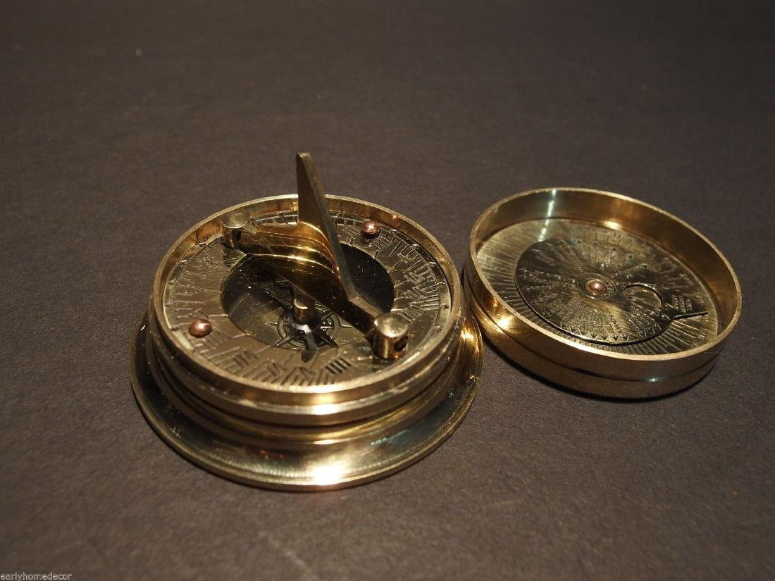 Brass Wing Sundial w Lid Pocket Watch Compass - 4
