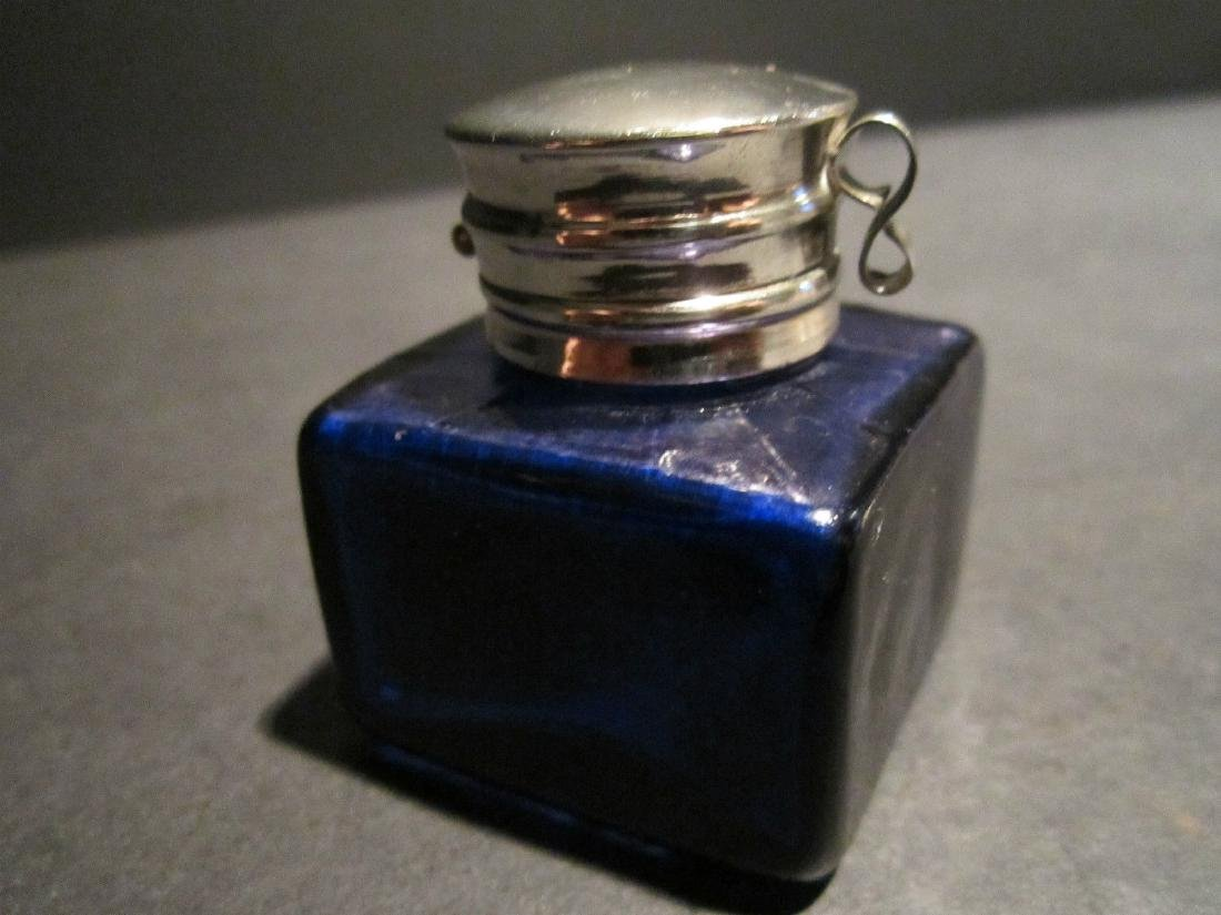 Thick Glass Square Cobalt Blue Inkwell Ink pot Bottle - 3