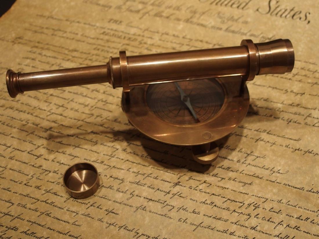 Brass Surveyors Compass Telescope Instrument - 6