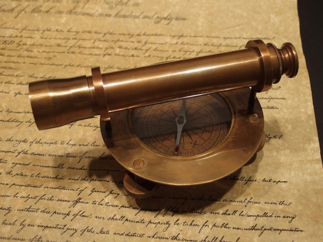 Brass Surveyors Compass Telescope Instrument - 7