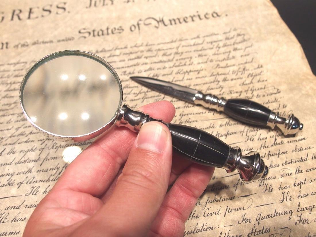 Desk Magnifying Glass Letter Opener Set w Horn Handles - 2