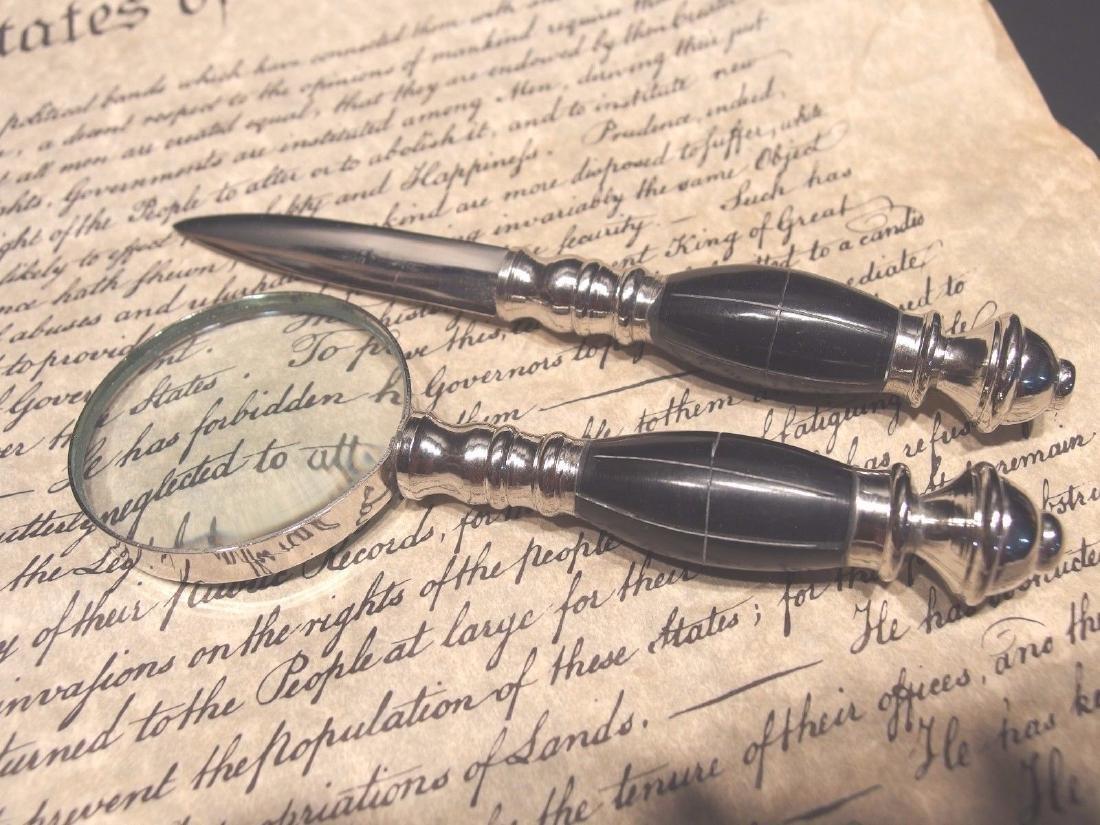 Desk Magnifying Glass Letter Opener Set w Horn Handles - 4