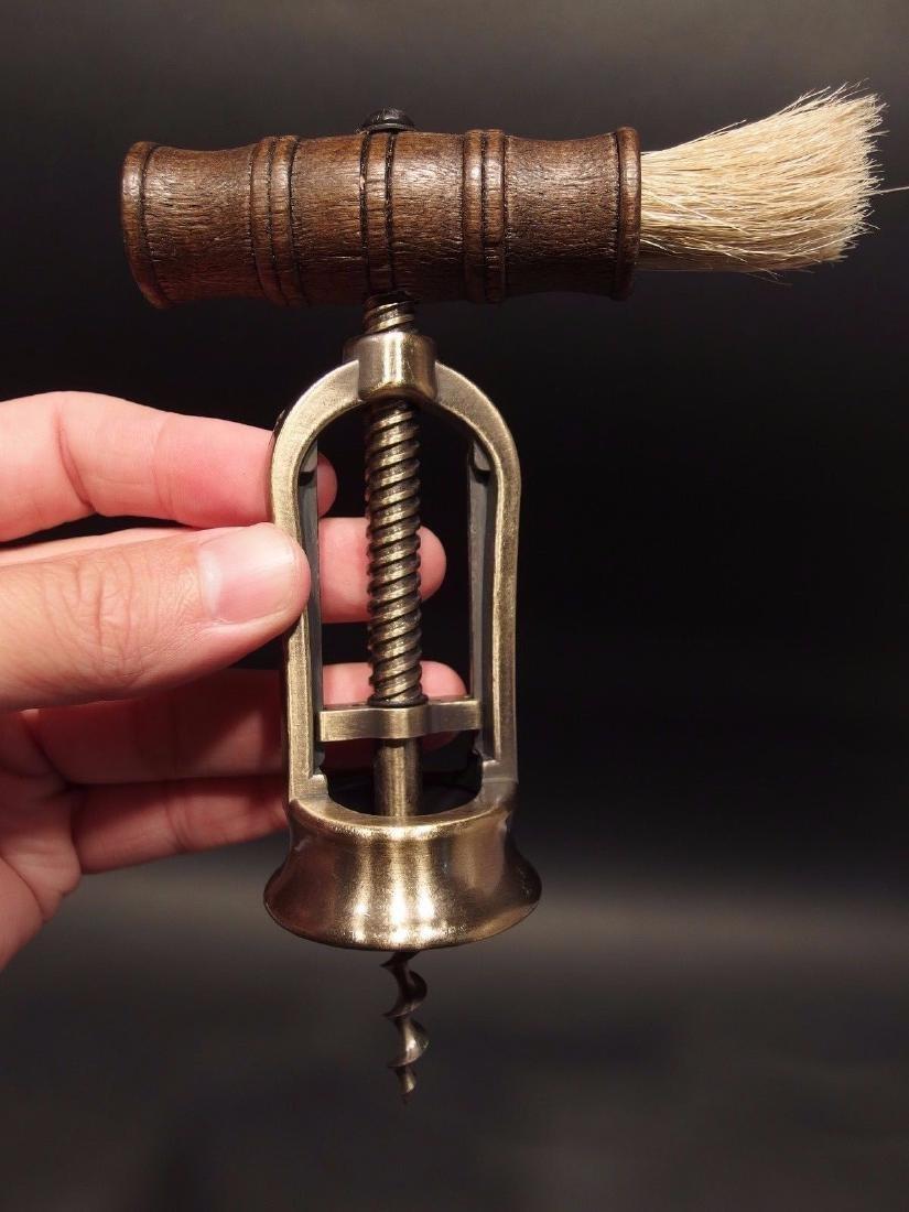 Open Frame Corkscrew w Brush Wine Bottle Opener - 10