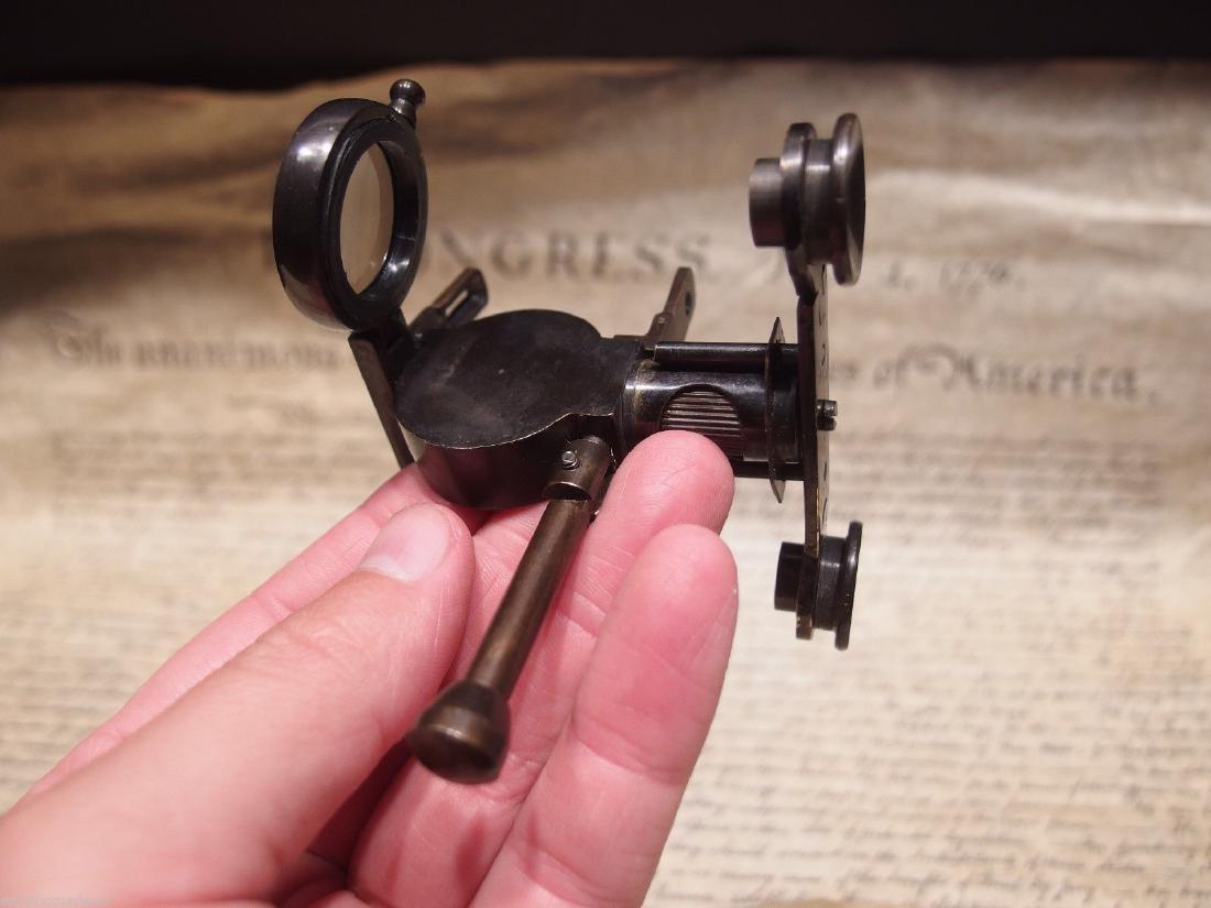 Solid Brass Folding Instrument Binoculars w Compass - 10
