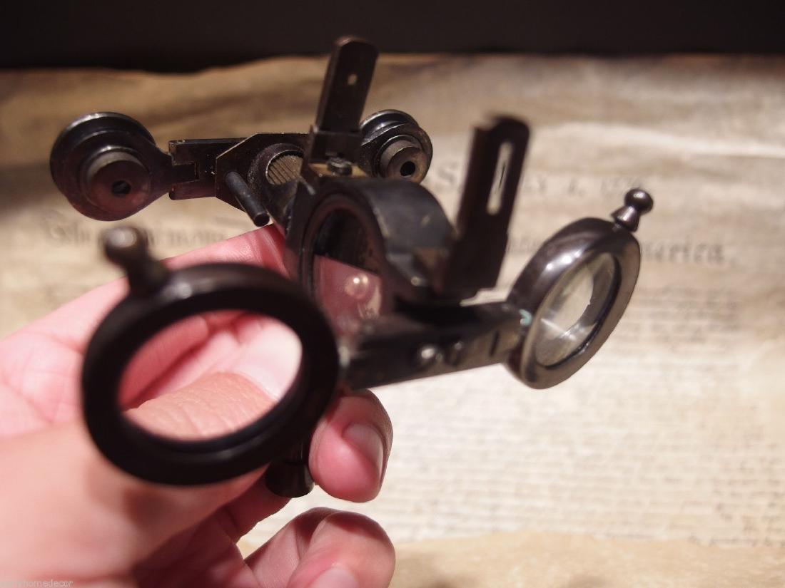 Solid Brass Folding Instrument Binoculars w Compass - 5