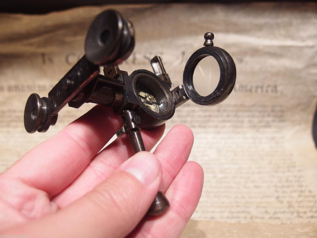 Solid Brass Folding Instrument Binoculars w Compass - 6