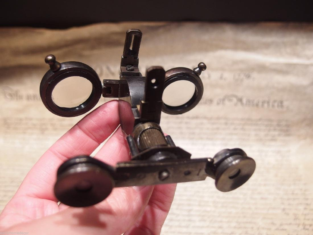 Solid Brass Folding Instrument Binoculars w Compass - 8