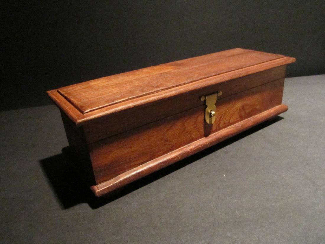 Hardwood Inkwell Writing Box Pen Desk Set w Inkwell & - 3