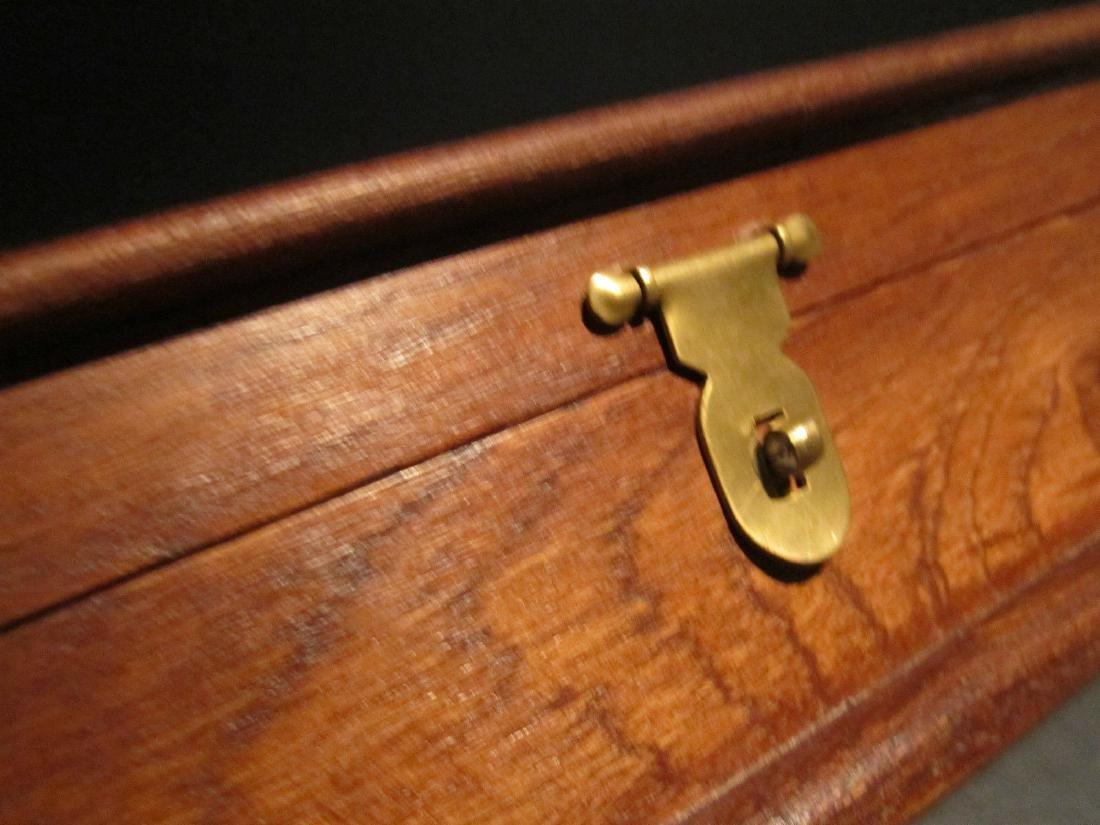 Hardwood Inkwell Writing Box Pen Desk Set w Inkwell & - 6