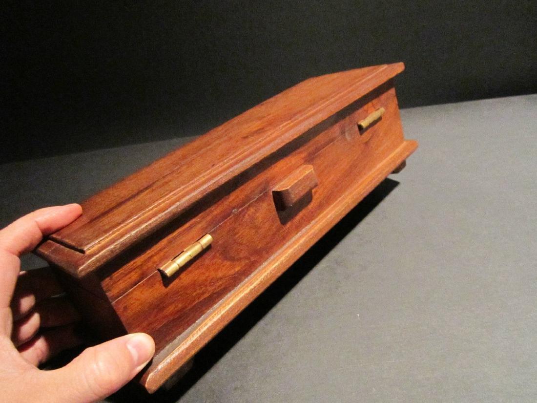 Hardwood Inkwell Writing Box Pen Desk Set w Inkwell & - 8
