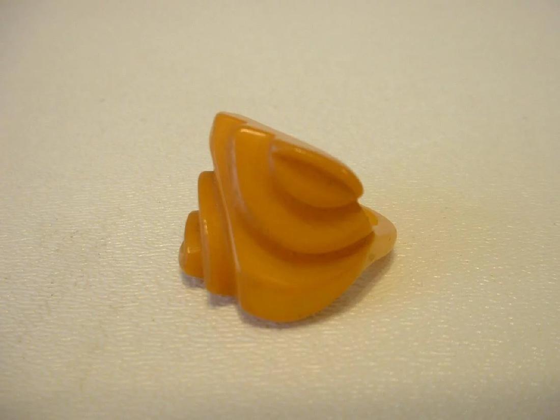 Vintage Carved Butterscotch Bakelite Ring - 5