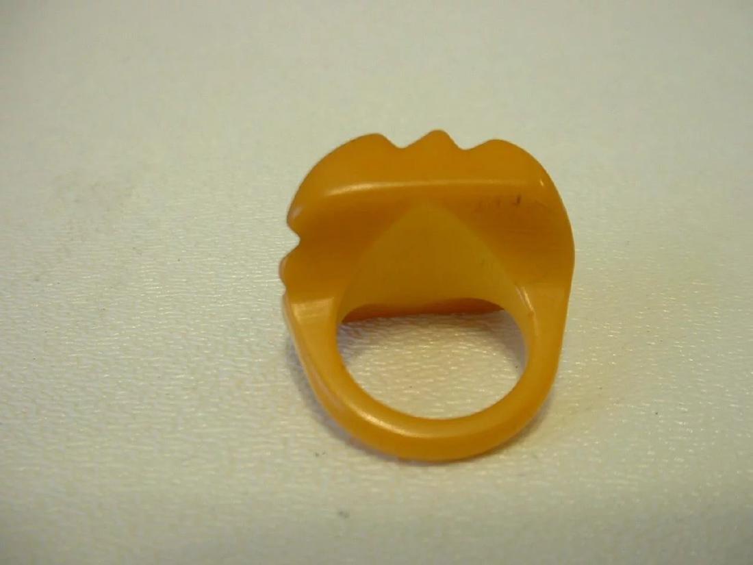 Vintage Carved Butterscotch Bakelite Ring - 6