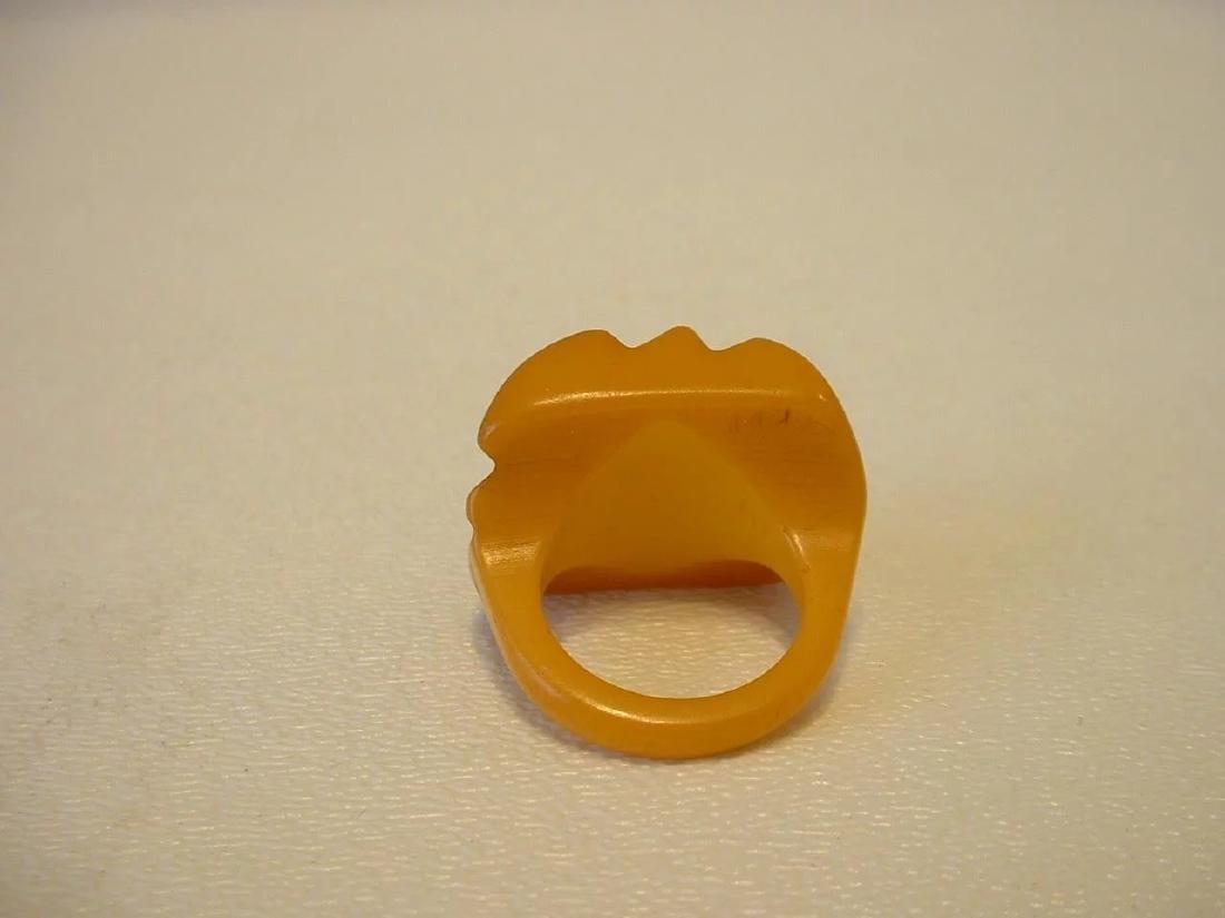 Vintage Carved Butterscotch Bakelite Ring - 7