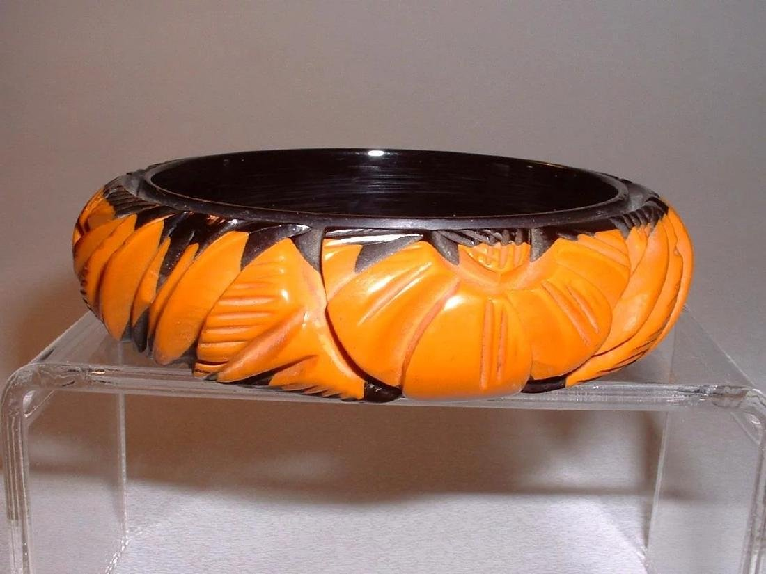 Vintage Magnificent Cast Carved Black and Butterscotch - 2